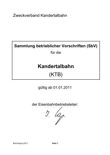 Sammlung betrieblicher Vorschriften (SbV) - Kandertalbahn