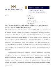 host marriott news release host marriott to acquire the hyatt regency ...