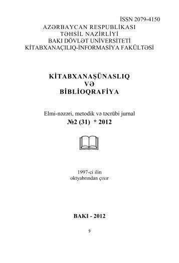 kitabxanaşünaslıq və biblioqrafiya:2012№2 - Bakı Dövlət Universiteti