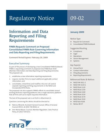 Regulatory Notice 09-02 - finra