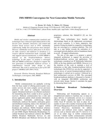 IMS-MBMS Convergence for Next Generation Mobile ... - C-Mobile