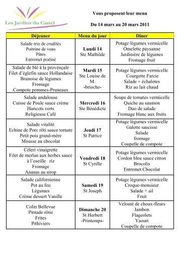 Vous proposent leur menu Du 14 mars au 20 mars 2011 Déjeuner ...