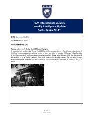 FAM Weekly Intelligence Update Sochi Russia 2014 Week 5
