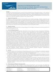 Allgemeine Geschäftsbedingungen (AGB) für die ... - Linde Gas