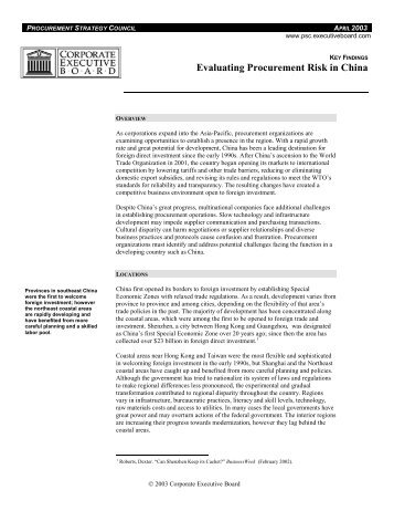 Evaluating Procurement Risk in China - Corporate Executive Board