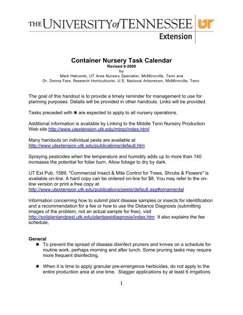 Container Nursery Task Calendar Ut Extension