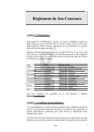 Lire le règlement du jeu - Groupe Dallard