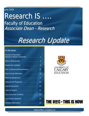 Research Update - Faculty of Education - University of Calgary