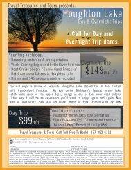 Houghton Lake $99p/p - Travel Treasures & Tours