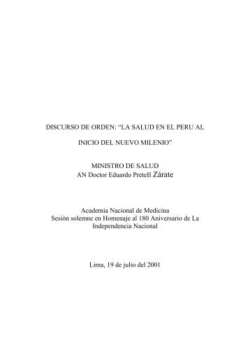 la salud en el peru al inicio del nuevo milenio - Academia Nacional ...