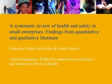 A systematic review of health and safety in small enterprises ...