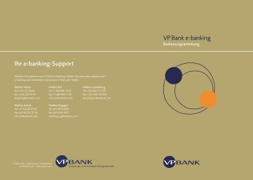 Ihr e-banking-Support VP Bank e-banking