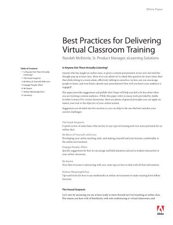 Best Practices for Delivering Virtual Classroom Training