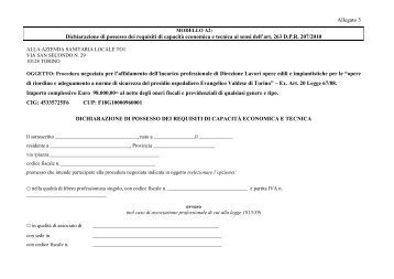 Allegato 3 Dichiarazione di possesso dei requisiti di ... - ASL TO 1