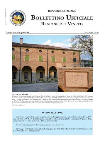 Scarica la versione stampabile del BUR n. 25 del 03/04/2012