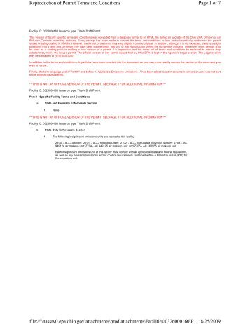 Page 1 of 7 Reproduction of Permit Terms and Conditions 8/25/2009 ...