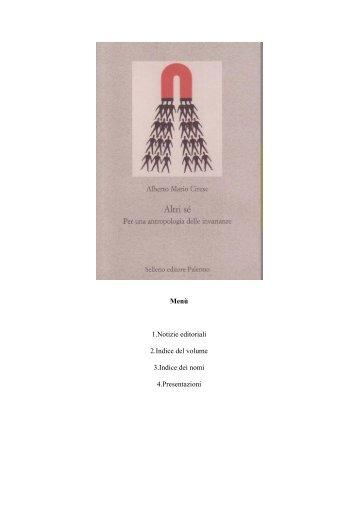 Menù 1.Notizie editoriali 2.Indice del volume 3.Indice ... - Amcirese.it