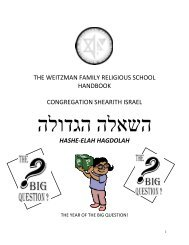 Parent's Handbook - Congregation Shearith Israel
