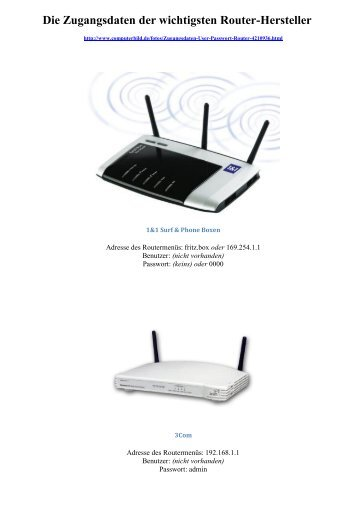 Die Zugangsdaten der wichtigsten Router-Hersteller - Breyell