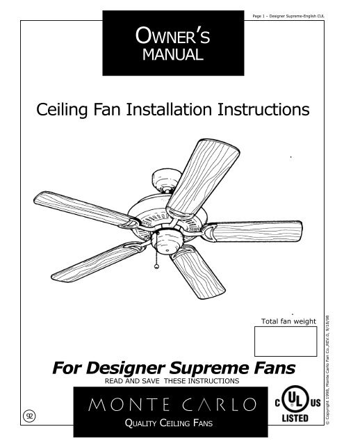 Incredible For Designer Supreme Fans Ceiling Fan Installation Instructions Wiring Digital Resources Remcakbiperorg