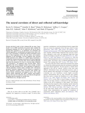 The neural correlates of direct and reflected self-knowledge