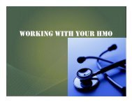 WORKING WITH YOUR HMO