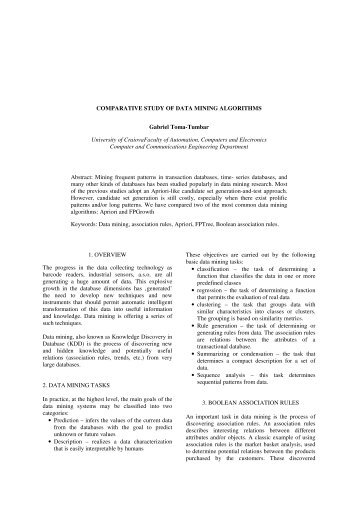 COMPARATIVE STUDY OF DATA MINING ALGORITHMS Gabriel ...