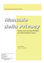 Manuale della Privacy - Palazzo Ducale
