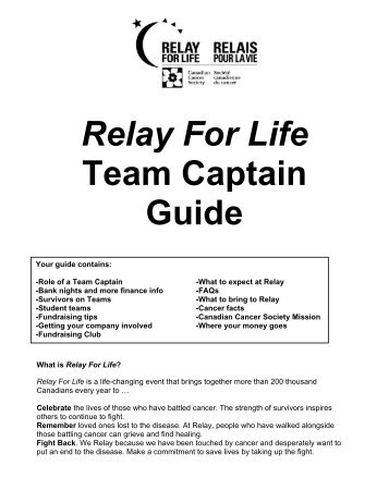 Relay For Life Team Captain Guide - Canadian Cancer Society