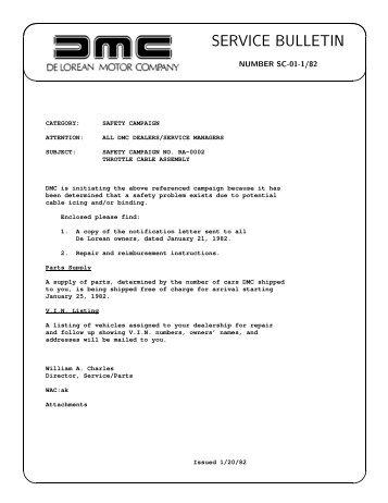 SERVICE BULLETIN - DMC-News The DeLorean Mailing List