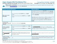 2014 Cigna HRA Summary of Benefits and Coverage (SBC) - Hospira