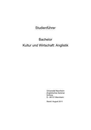 Bachelor Kultur und Wirtschaft: Anglistik - Anglistisches Seminar ...