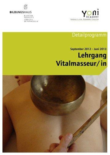 Detailprogramm Vitalmasseur 2012-2013 - Kloster Neustift