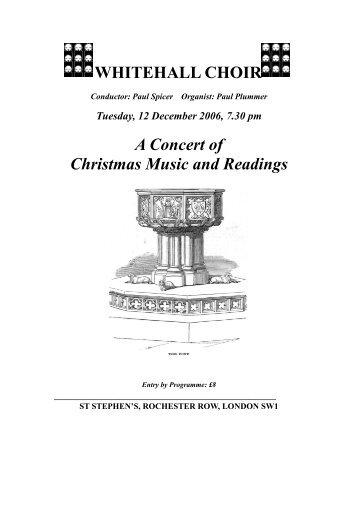 View concert programme - Whitehall Choir