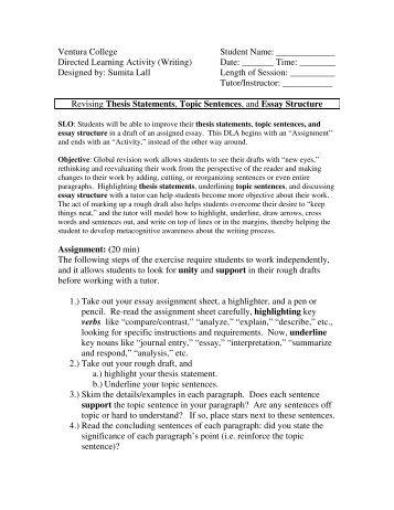 Revising Thesis Statements, Topic Sentences ... - Ventura College