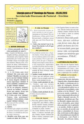 missas mai 2013.pmd - Diocese de Erexim
