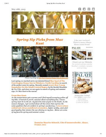 Spring Sip Picks from Max Kast - Fearrington Village