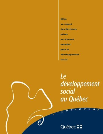 Le développement social au Québec 1995-2000 - Ministère du ...