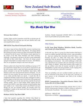 NSW RSL NZ Sub Branch News January 2009 - Malaya Veterans ...