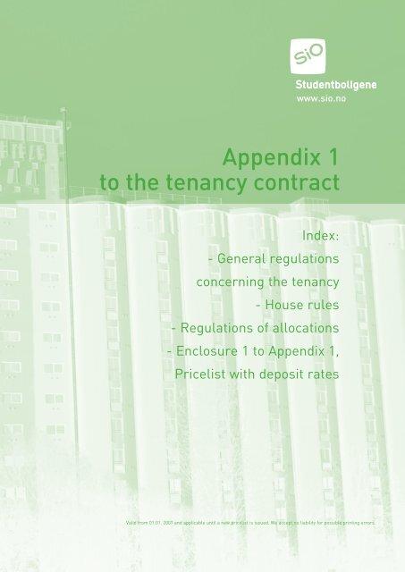 Appendix 1 To The Tenancy Contract Sio