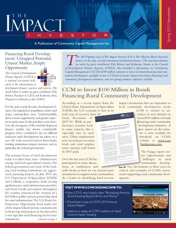 Final CCM Impact Investor Newsletter - Spring 2015
