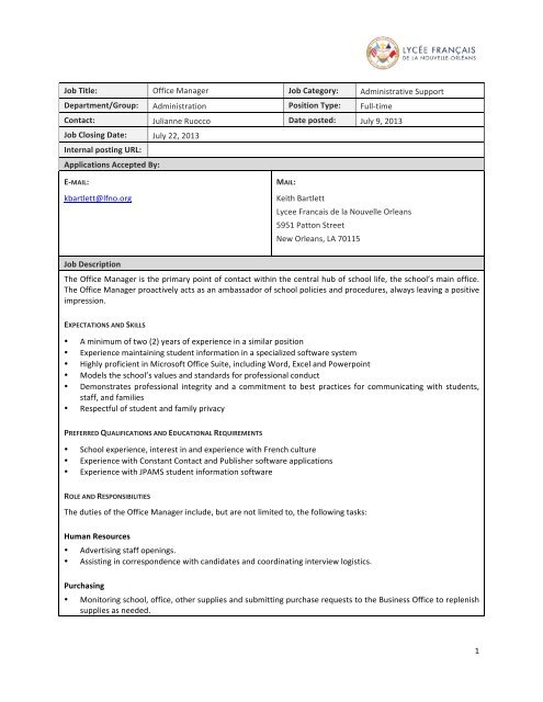 Page 1 1 Job Title Office Manager Job Category Administrative