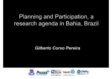 Planning and Participation – a research agenda in Bahia, Brasil - 2i2p
