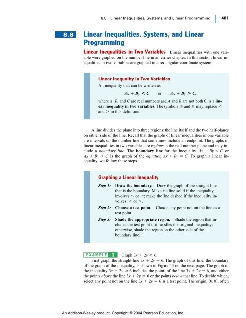 Linear Inequalities, Systems, And Linear Programming