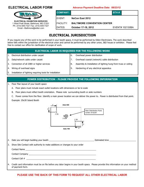 Electrical Labor Order Form - Exhibitor Info