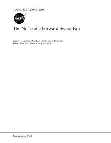 The Noise of a Forward Swept Fan - CAFE Foundation
