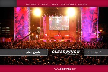 price guide - Clearwing Productions Inc.