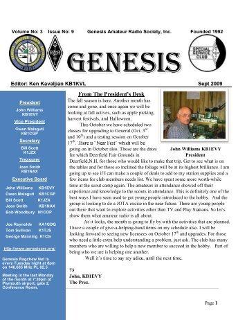 Editor: Ken Kavaljian KB1KVL Sept 2009 - Genesis Amateur Radio ...