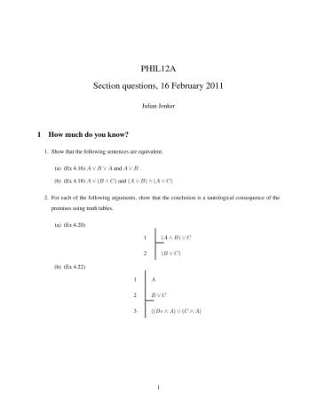 PHIL12A Section questions, 16 February 2011 - Philosophy