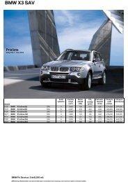 Ladda ner Den aktuella prislistan för BMW X3 (PDF, 367 kB).